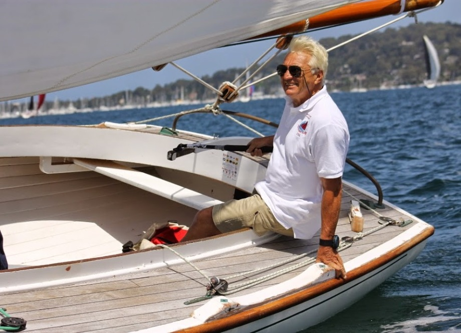 Larry Eastwood aboard Sylvia on Pittwater